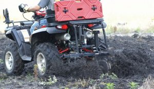 Disk plow pulled by ATV with ballast 2