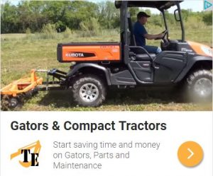 Gator Kubota with disc harrow